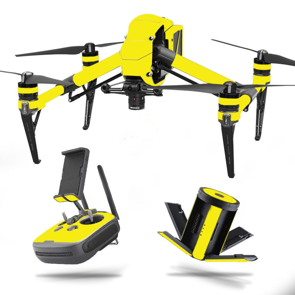 MightySkins Skin Compatible with DJI Inspire 2 - Solid Yellow | Protective, Durable, and Unique Vinyl Decal wrap Cover | Easy to Apply, Remove, and Change Styles | Made in The USA