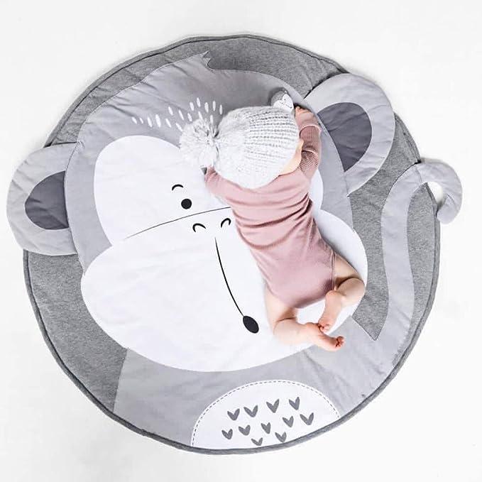 Kaliya Juego de colchonetas para niños Juego Alfombra Redonda Alfombra Decoración del Cuarto del bebé (Mono)