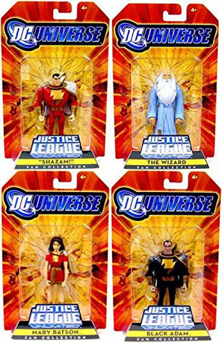 DC Universe Justice League Unlimited Exclusive Set of 4 Action Figures Shazam! Family (Shazam, Mary Batson, Black Adam and The Wizard)