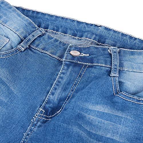 10 Jeans uk Lápiz Flacos Delgados Para De Cintura us Claro Sodial L Estiramiento Pantalones Alta Mujer Denim 12 Agujeros Azul UxTTvw