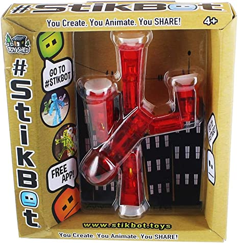 New!! STIKBOT  TRANSLUCENT Red STIKMONKEY  Figure NIB