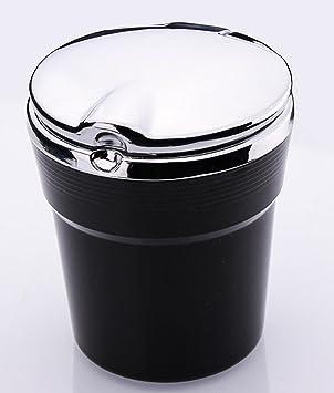 Cenicero del coche casero creativo Luz LED Interior del coche Cenicero cubierto Cenicero portátil del encendedor del cigarrillo del coche extraíble , black: ...