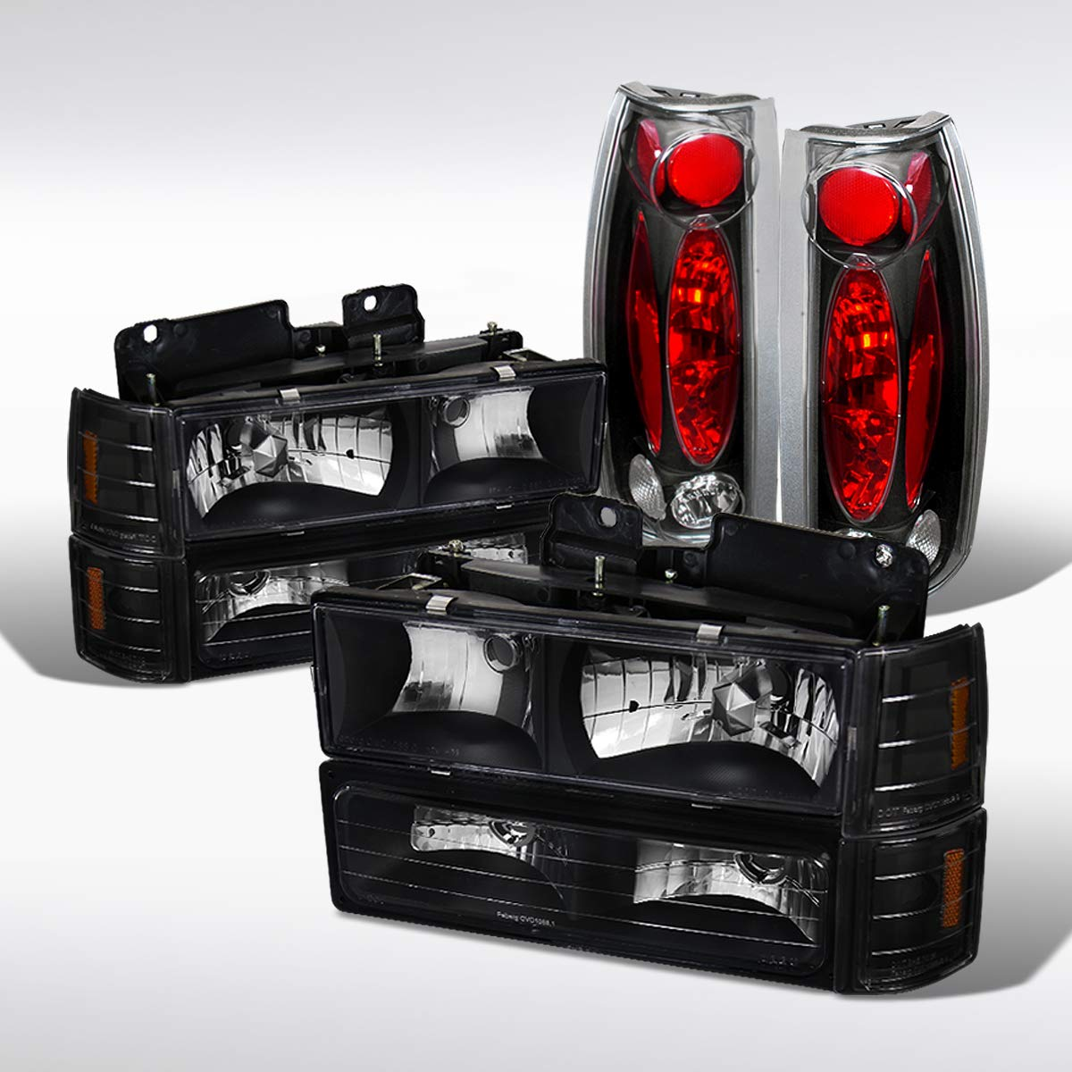 Autozensation For GMC C10 1500 Black Clear Headlights Bumper Corner Lamps Clear Tail Lights