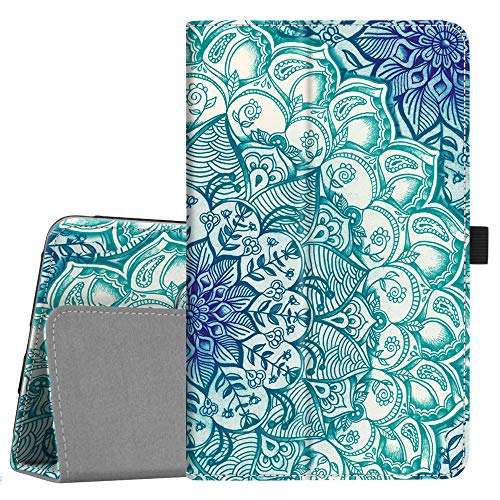 Fintie Folio Case for Samsung Galaxy Tab A 8.0 2018 Model SM-T387 Verizon/Sprint/T-Mobile/AT&T, Slim Fit Premium Vegan Leather Stand Cover, Emerald Illusions ()