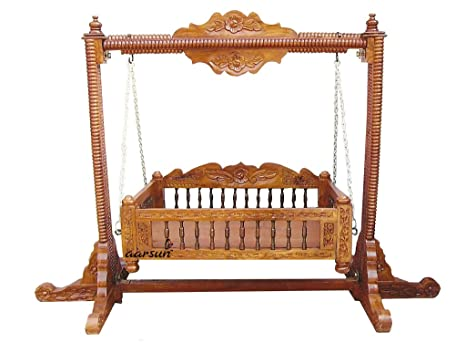 Aarsun Woods Wooden Baby Cradle Swing Handcrafted (Brown)  Amazon.in   Electronics c41eccc8b