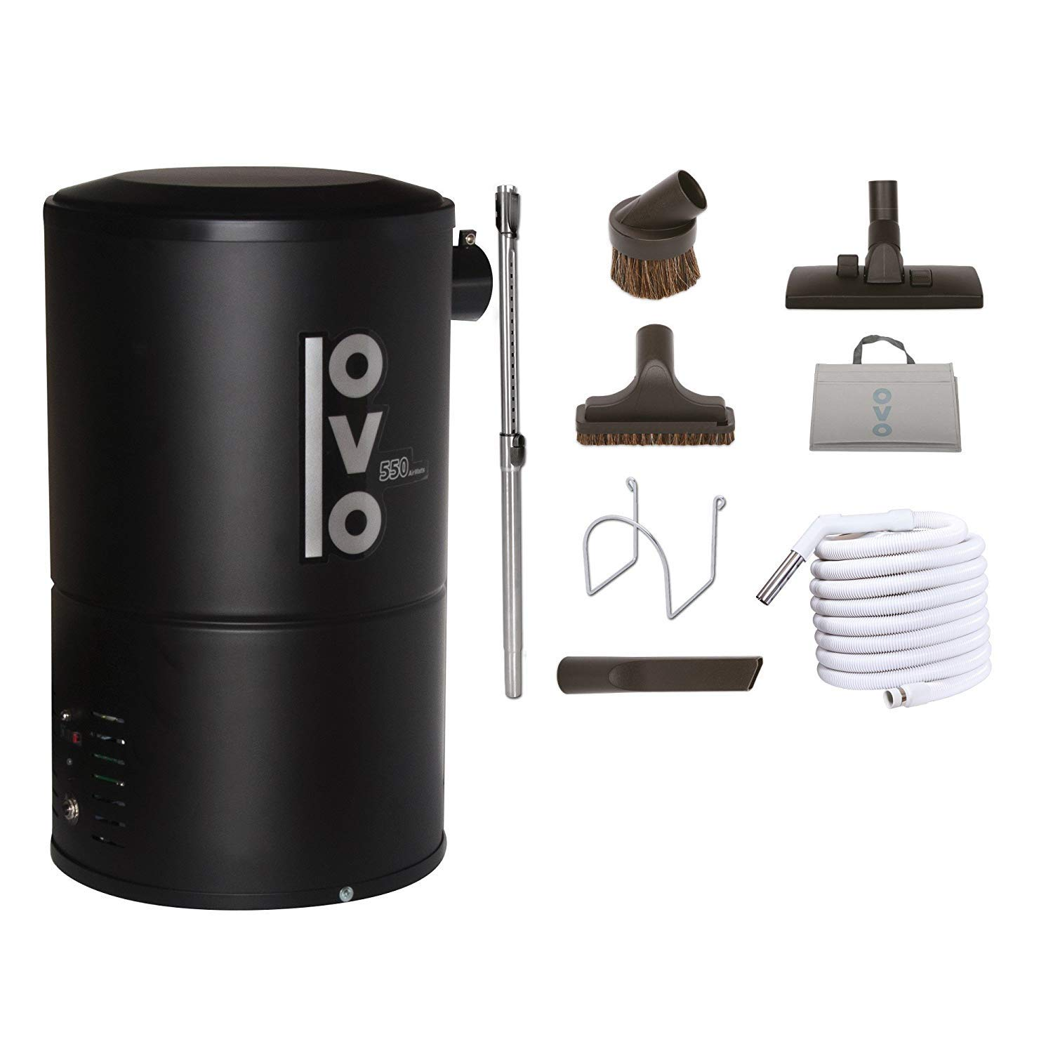 OVO Compact 550 Airwatts Central Vacuum System Power Unit with Garage Accessory Kit Included, Condo-Vac, Black (PAK55G) by OVO