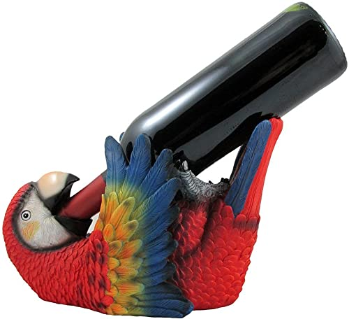 Tropical Parrot Wine Bottle Holder As a Display Stand Statue
