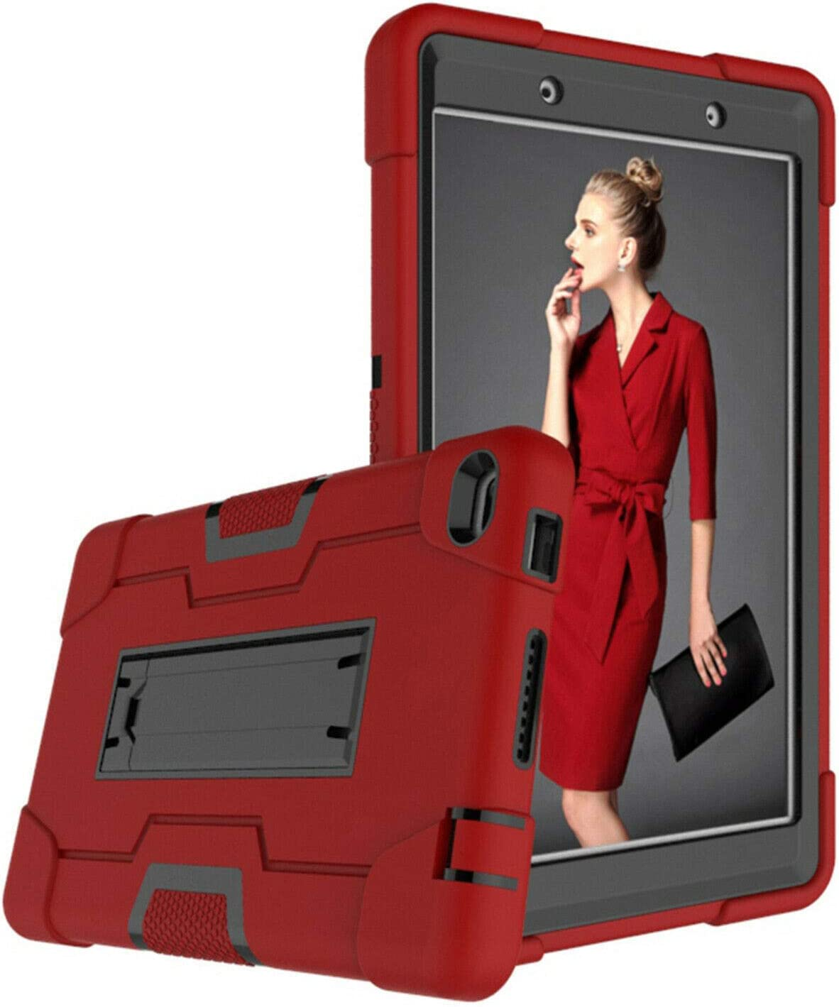 Cherrry for Lenovo Tab E8/TB8304F 8.0 Inch Tablet Case,Heavy Duty Shockproof Hybrid Rugged Hard Armor Full Body Protective Case with Built-in Stand for Lenovo Tab E8/TB8304F 8.0 Inch(Red/Black)