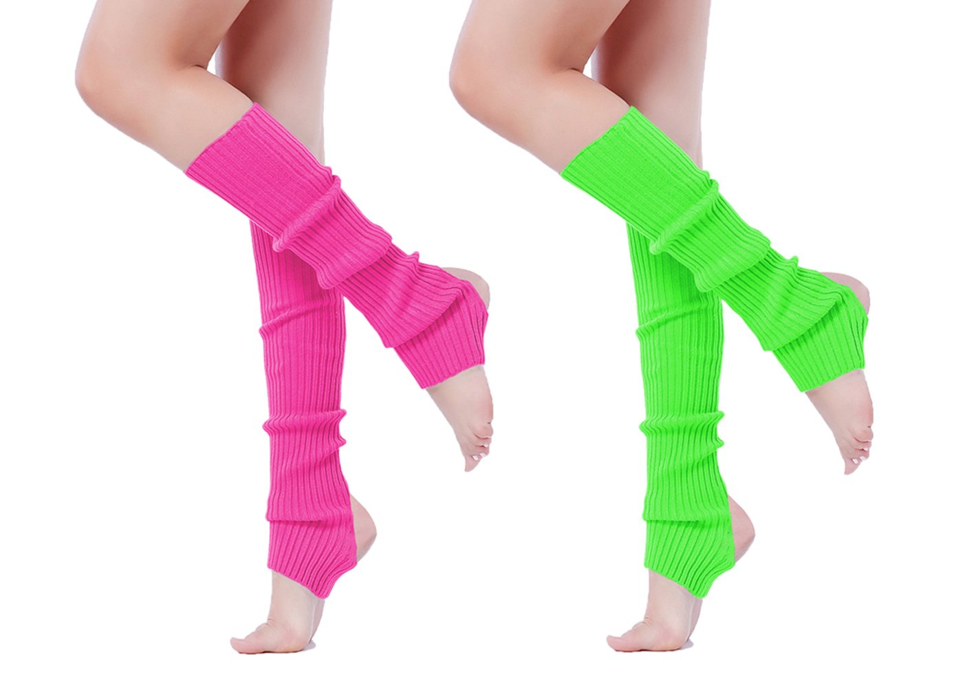 V28 Women Girls Neon Pink Stirrup Ribbed for 80s Party Yoga Leg Warmers (Hole Rose+Green)