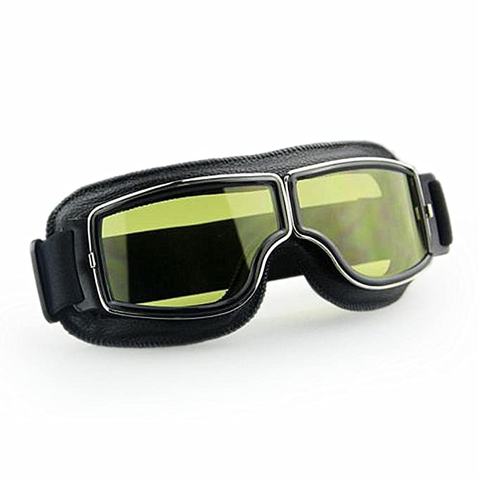 Lentille Jaune LEAGUE/&CO Lunettes de Moto//Aviateur// ATV//Ski// /Équitation//Protection Vintage Masque Anti-UV Anti-Poussi/ère Anti-Sable Anti-Brouillard Noir