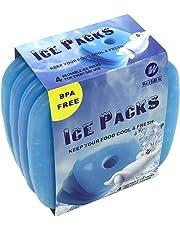 WORLD-BIO 4 x Packs de Glace Réfrigérants Glacière - Petits mais durables - Froid congélateur Sac glacière boîtes déjeuner - Bleu Clair