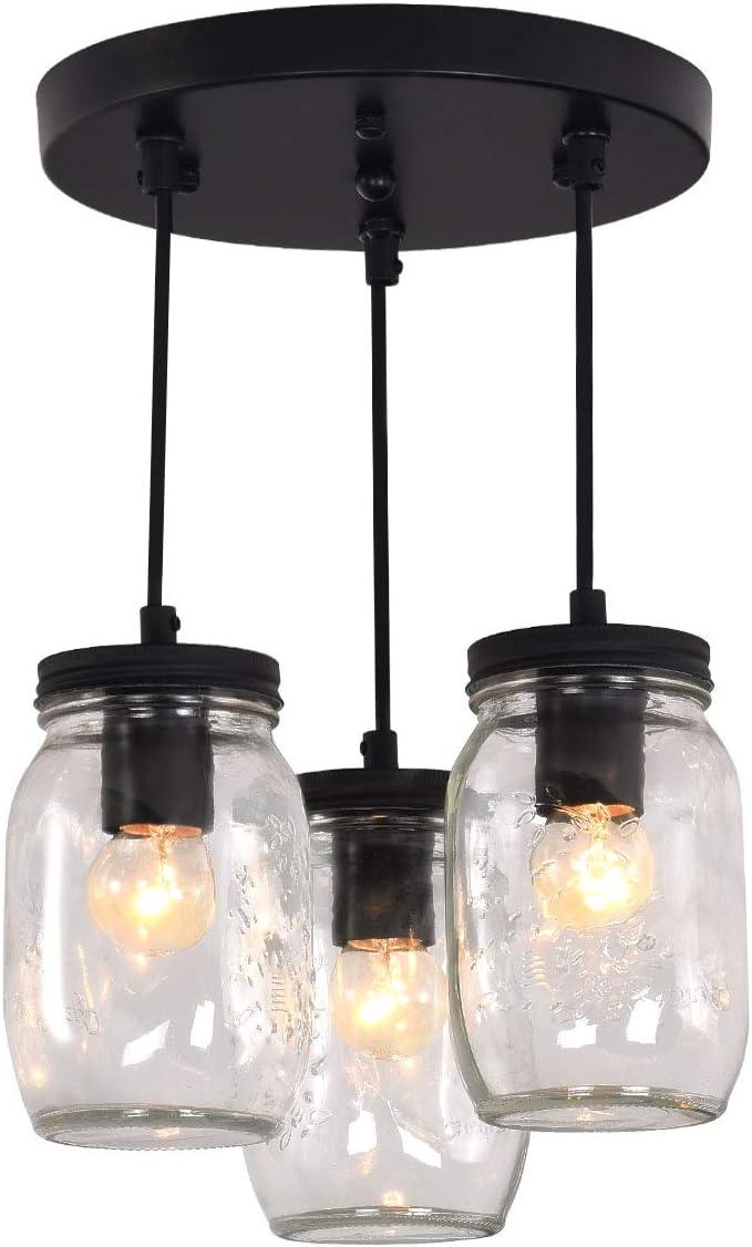 3-Lights Industrial Mason Jar Pendant Light Chandelier, Rustic Farmhouse Bathroom Ceiling Lightmid-Century Pendant lamp Fixture