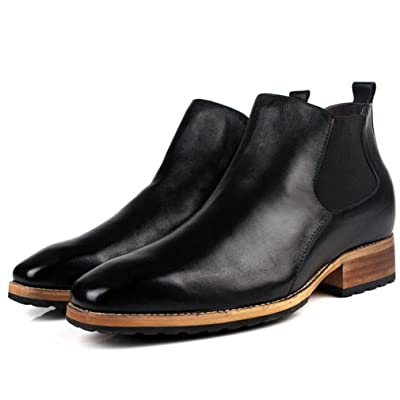 3.15 Inches Taller Genuine Leather Height Increasing Elevator Shoes Men's Formal Business Oxfords Boots