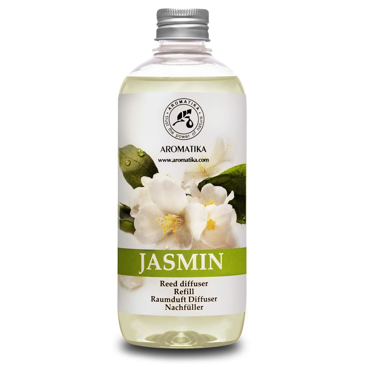 Jasmine Reed Diffuser Refill w/Natural Essential Jasmine Oil 500ml - Fresh & Long Lasting Fragrance - Scented Reed Diffuser Oil Refill - 0% Alcohol - Best for Aromatherapy - SPA - Home