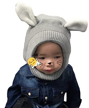 5ee20729b95 Bigood Cagoule Enfant Tricot Bonnet avec Oreilles Cache Oreilles Calotte  Automne Hiver Mignon Gris