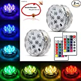 led water lights - Underwater Submersible LED Lights Waterproof Multi Color Battery Operated Remote Control Wireless 10-LED Reusable light for Party,Vase Base,Wedding,Christmas,Aquarium,Pond,IP68 Submersible Light 2pack