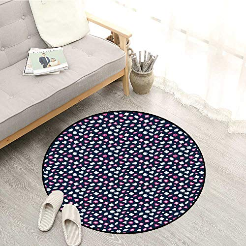 (Diamonds Skid-Resistant Rugs Round Marquise Square and Heart Shaped Crystals with Ruby Arrangement Sofa Coffee Table Mat 4'11