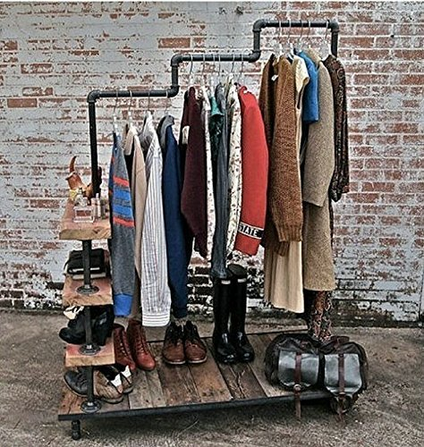 Diwhy Industrial Pipe Clothing Rack Pine Wood Shelving Shoes Rack Cloth Hanger Pipe Shelf 4 Layer by Diwhy (Image #7)