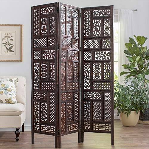 Artesia Handcrafted Wodoen Partition/Room Divider / Wooden Screen 3 Panel (L-54 in x W- 0.75 in x H-72 in) (Wooden Dividers Screen)