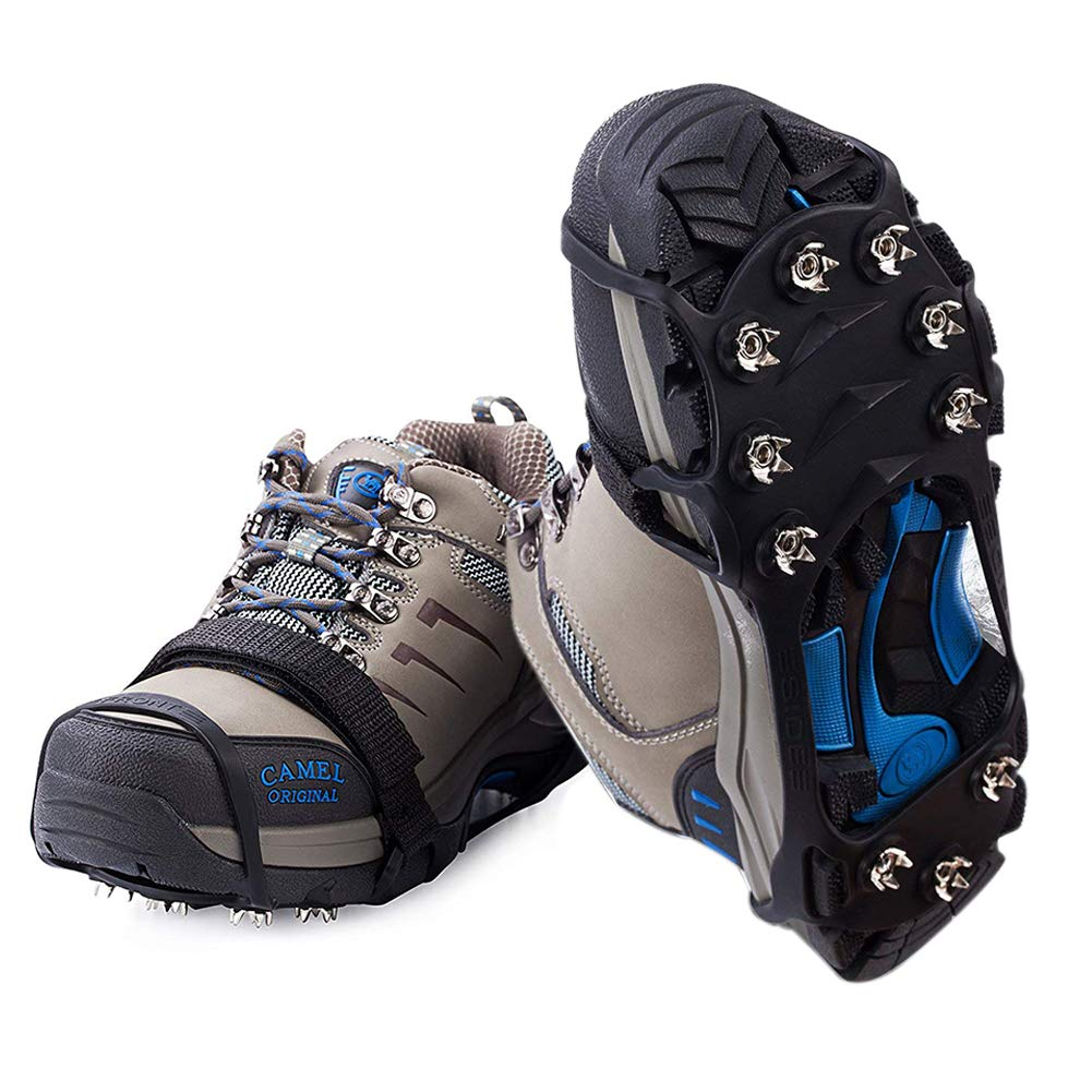 FarWarm Ice Cleats Walk Traction Anti Slip Stainless Steel Spikes Crampons and Tread for Snow and Ice Walking