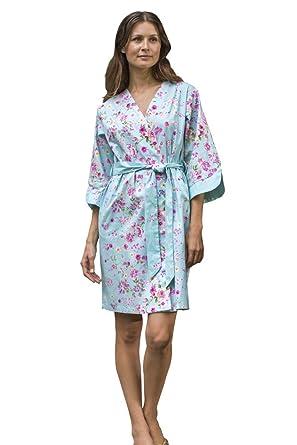 Dynasty Robes Women s Printed Cotton Short Robe With Kimono Collar ... 2bf228906