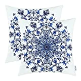 CaliTime Pack of 2 Cozy Fleece Throw Pillow Cases Covers for Couch Bed Sofa Vintage Mandala Snowflake Floral 20 X 20 Inches Navy Blue