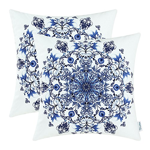 Pack of 2 CaliTime Cozy Fleece Throw Pillow Cases Covers for Couch Bed Sofa, Vintage Mandala Snowflake Floral, 18 X 18 Inches, Navy Blue (Blue Bed Pillows For Accent)