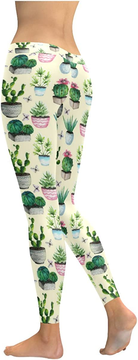 2XS-5XL InterestPrint Custom Cactus Succulent Plant Stretchy Capri Leggings Skinny Pants for Yoga Running Pilates Gym