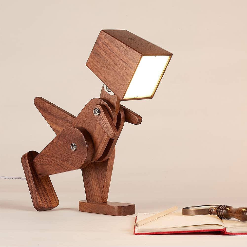 HROOME Wood Dinosaur Table Lamp, Dimmable Kids Desk Lamp with Adjustable Body, Fun Animal Reading Lamp for Living Room, Bedroom, Office- Black Walnut