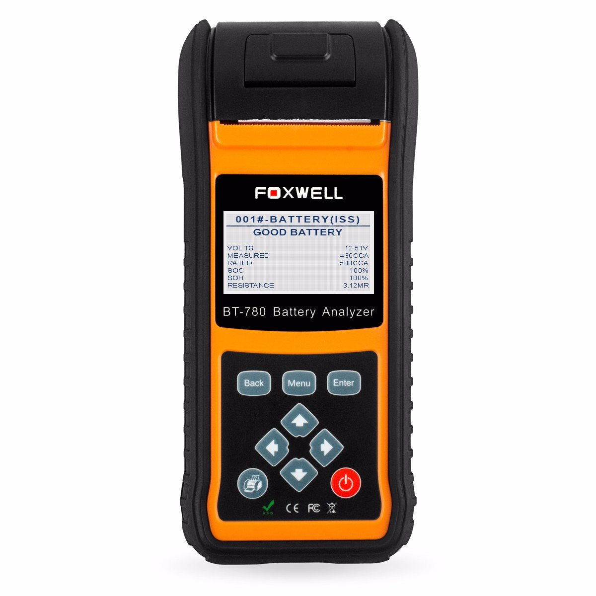 FOXWELL BT-780 Car Battery Load Tester 12V&24V Starting and Charging System Analyzer with Built-in Thermal Printer for Start-Stop AGM and EFB Batteries