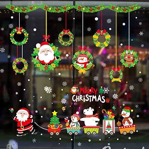(BIBITIME 2 Sheets Combination Merry Christmas Wall Decals Santa Train Star Xmas Tree Bird Snowman White Bear Green Leaves Vines Flower Vinyl Bells Snowman Bowknot Elk Wreath Snowflakes Window Sticker)