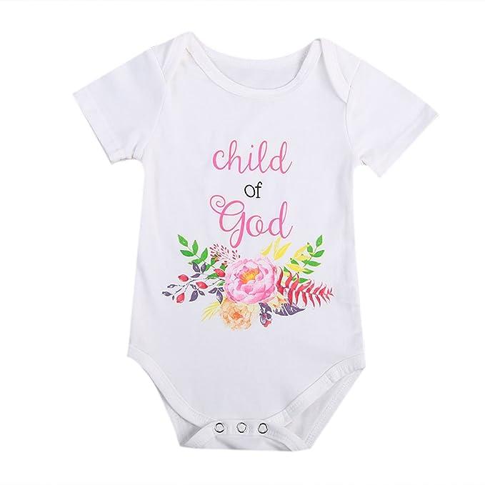 KidsA 0 - 24 M bebé infantil recién nacido niña ropa verano manga corta niño de Dios Floral Body de Pelele - Blanco - : Amazon.es: Ropa y accesorios