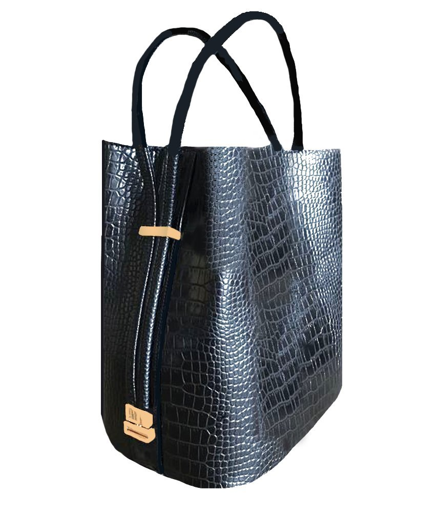 'Harley' Designer Inspired Black Croco Handbag with Matching Double Handles by Samoe Style by Samoe Style