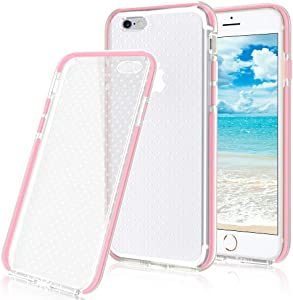 iPhone 6S Case, iPhone 6 Case, FYY[Patent Shockproof][Military Material] Ultra Slim Fit Hybrid Clear Bumper Case Soft Silicone Gel Rubber Shockproof Impact Resistance Cover for iPhone 6S/6 PINK
