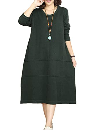 6ff83aa305 Women s Casual Long-sleeved Round Neck Sweater Dress With Pockets (Purple)  at Amazon Women s Clothing store