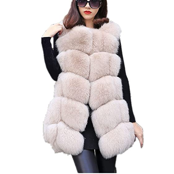 Women Faux Fur Vest coat Luxury Fox Fur Coat Jackets Winter Warm ...