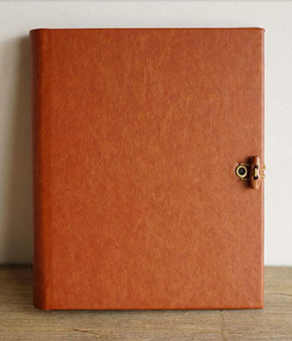 MYYDD Selbstklebendes Fotoalbum, Lederholz Schnalle DIY Loose-Blatt-Handbuch Kreativ PP interpage feuchtigkeitssicheres Album Paste Album,rotbraun