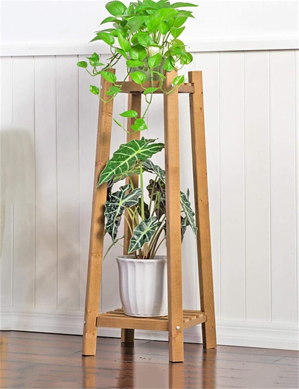 ガーデンフラワーポットラックホームフラワースタンド耐久性のある植物ラック 居間のバルコニー、ブラウンのために適した純木の直立した花の立場 (色 : Brown) B07PLY4Z12 Brown
