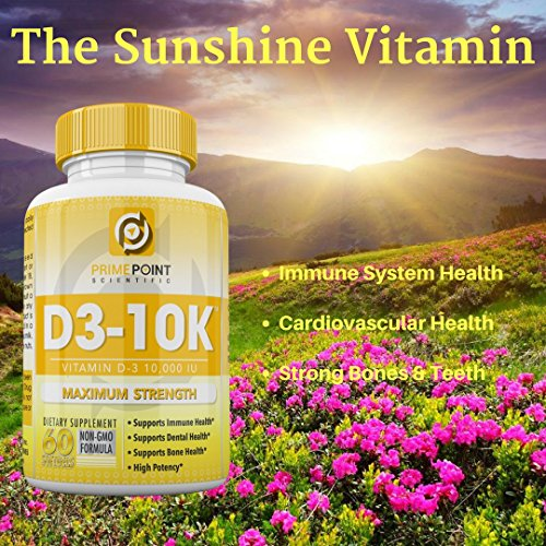 D3-10K Maximum Strength Vitamin D3 10,000 iu supports: Bone Health, Dental Health and Immune Health 60 Softgels 2 Month Supply Great Value by Prime Point (Image #4)