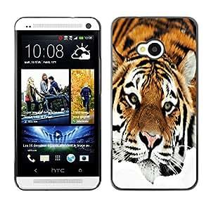 PC/Aluminum Funda Carcasa protectora para HTC One M7 Sad Tiger Orange Stripes Fur Feline / JUSTGO PHONE PROTECTOR