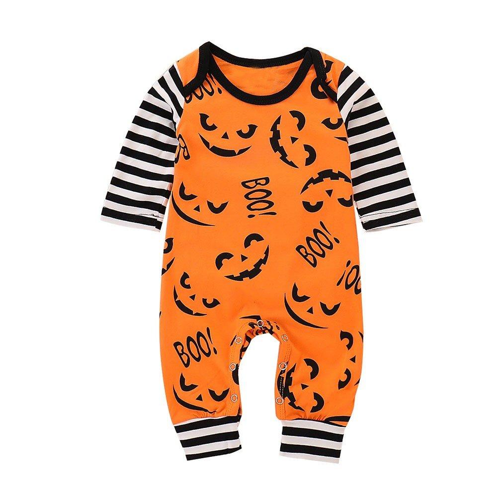 Sencillo Vida Halloween Ropa Bebé Recién Nacido de Manga Larga Estampado de Dibujos Animados Mameluco a Rayas Mono
