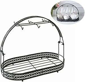 Mug Holder Coffee Mug Rack Coffee Cup Holder Stand Dishes Organizer Wrought Iron Mug Drainer Storage Drying Rack for Counter Cabinet Table Kitchen Restaurant Office (Black B)