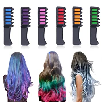 6 Color Temporary Hair Chalk Hair Color Comb Dye Salon Kits Party Fans Cosplay