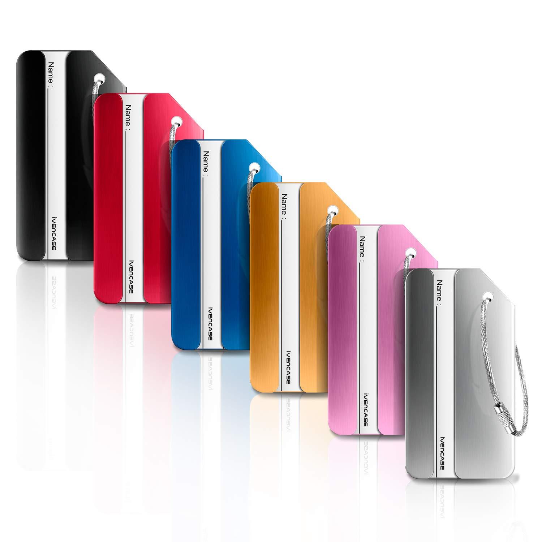 Ivencase 6 pièce Mix Couleurs Bagages Étiquettes en alliage d aluminium  avec cordes en acier inoxydable, étiquettes valise, accessoires voyage db54958a1bf