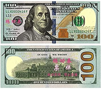 Novelty USA Currency 100 Pieces USD $100 Total $10000 Play Money Props  Bills Novelty Film and television shooting Gifts For Movie, TV, Videos,