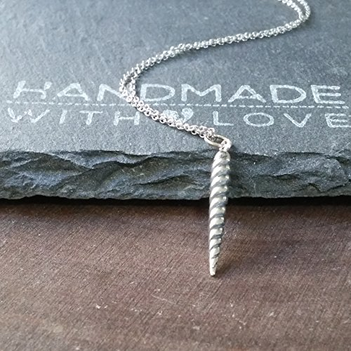 Sterling Silver Realistic Unicorn Horn Charm Necklace