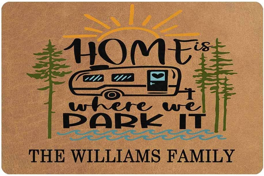 """MyPhotoSwimsuits Personalized Camper Doormat 24"""" X 16"""" Indoor Outdoor with Custom Name Entrance Door Mat Rug Decor Home is Where We Park It"""