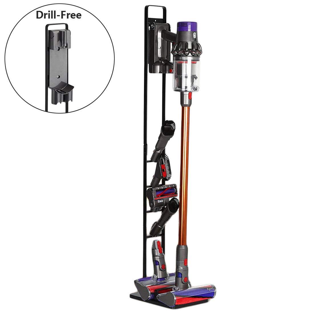 BORTENG Drill-Free Vacuum Docks Station Holder Stand for Dyson V11 V10 V8 V7 V6 Cordless Vacuum Cleaners & Accessories, Stable Metal Organizer Rack (Black) by BORTENG