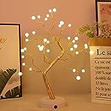 Chnrong Luzes de galhos de árvores, luminária de mesa para quarto com luz de árvore, iluminação noturna alimentada por bateri
