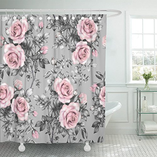 TOMPOP Shower Curtain Pink Flowers and Leaves on Gray Watercolor Floral Pattern Waterproof Polyester Fabric 60 x 72 Inches Set with Hooks
